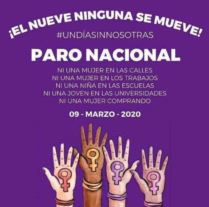 cartel Paro Nacional 9 de marzo 2020