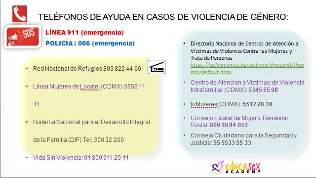 teléfonos de ayuda violencia de género México